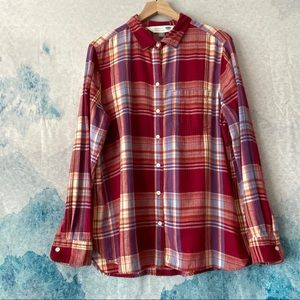OLD NAVY|XL| Classic Fit Red Plaid Button-down Top